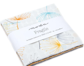 """Moda - 5"""" Squares """"Fragile"""" by Zen Chic-- 42 -5 inch squares. Charm Pack, modern fabric, modern prints, yellow fabric"""