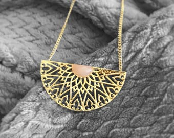 Pink Chalcedony Gold Necklace, Big necklace, Statement Long Necklace, Long Pendant, Long Necklace, Geometric pendant, Gift for women