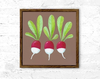 Vegetable Nursery print, radish print, printable art, beige wall decor, acrylic art, beige nursery decor, food print