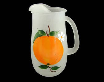 Frosted Glass Pitcher with Hand Painted Orange, 1 Qt. Bartlett Collins Juice Pitcher, Gay Fad