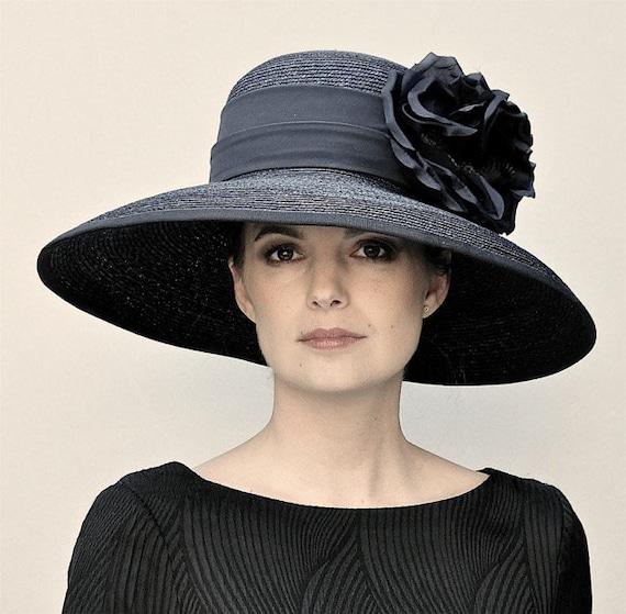 Black Wide Brim Hat, Ladies Black Hat, Funeral Hat, Formal Hat, Ascot Hat, Church hat, Audrey Hepburn hat, Big Hat, Occasion Hat