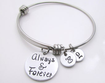 Personalized Mothers Bracelet - Personalized Bangle Bracelet - Hand Stamped Jewelry - Expandable Bracelet - Personalized Bracelet for Women