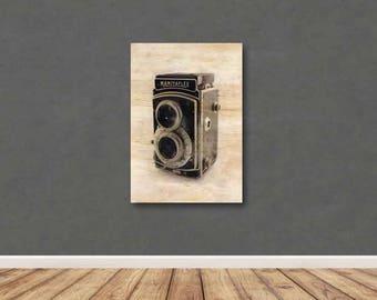 Plywood Wall art, Screen Print, Wood Transfer, Camera, Hipster, Graphic Art, Scandinavian Wall Art, Timber Screen Printing, Image transfer