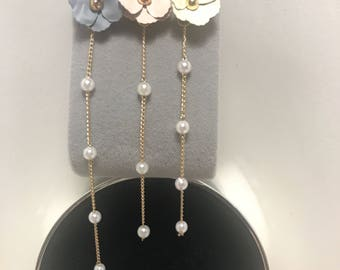 Asymmetrical earrings gold flower pearl petal long vintage antique pink beige grey wedding bridal kawaii