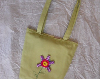 Kids Tote Purse Green with Flower Applique CLEARANCE