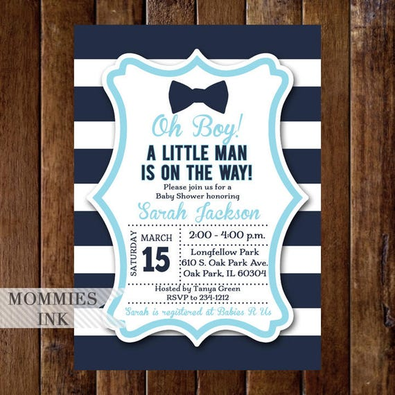 Bow Tie Baby Shower Invitation Little Man Baby Shower