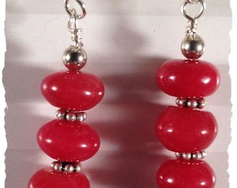 Red Jade and Sterling Silver Earrings--Simple and Bold--Free US Shipping