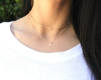Dainty Gemstone Necklace, Dainty Necklace, Moonstone Necklace, Layering Jewelry, Dainty Gold Necklace, Bridesmaid Gift, June Birthstone