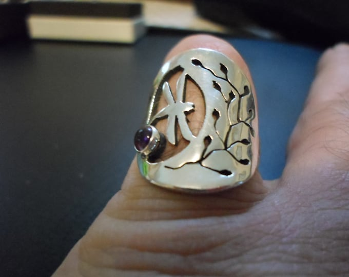 Dragonfly ring w/flower and natural 6mm amethyst quarter size
