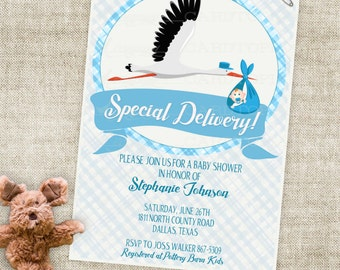 Stork and Baby Boy Shower Invitation with Blue Stripes and Banner Digital Printable File with Professional Printing Option - Cardtopia
