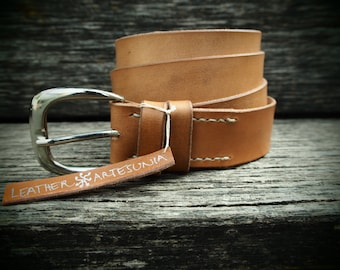 Leather belt, chestnut, handmade, self-coloured, italian cattle leather, with silvery buckle