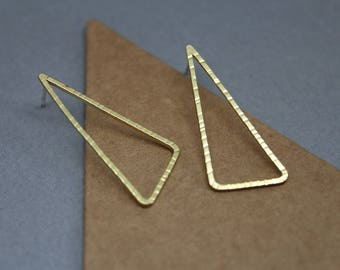 Large gold triangle earrings, gold triangle studs, large triangular gold studs, geometric jewellery,geometric earrings,gold and silver studs