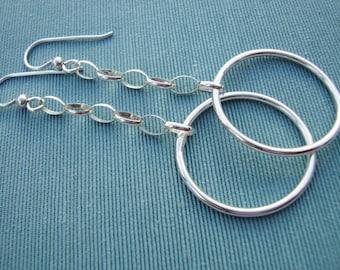 Long Sterling Dangle Earrings with Swinging Hoops - Silver Hoop Earrings - Handmade Jewelry