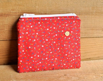 CLEARANCE- Red Floral Zipper Pouch with Little Yellow Button