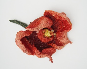 Blossom, Woven Flower, Fiber Art Sculpture, Soft Sculpture, Coral Orange Red, by Fiber Artist Pamela Zimmerman