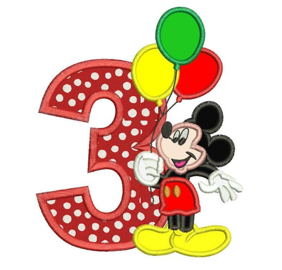 Mickey Mouse 3rd Birthday Holding A Balloons Applique Design 3