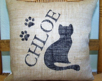 Cat pillow, Personalized cat pillow, Pet pillow, burlap Pillow, Custom cat pillow, FREE SHIPPING!
