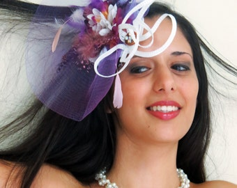 Ready to ship today! Purple fascinator white loops flower fascinator STAVVY GARDEN