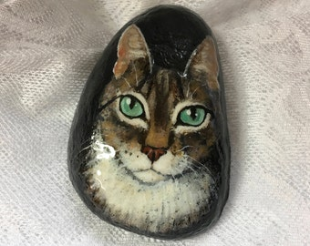 Tabby Face Painted Rock