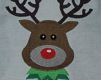 Christmas reindeer rudolph machine embroidery design, 9 formats available, dst, exp, hus, jef, pes, sew, vip, vp3, xxx, 3 sizes available