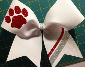 Grosgrain Cheer bow with striped tail and mascot