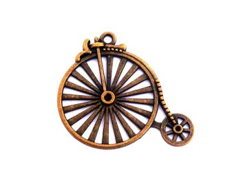 tricycle bicycle steampunk pendant steampunk antique vintage bicycle 50mm