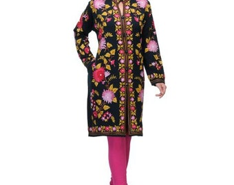 Ladies Indian Ethnic Woollen Embroidered  Dress  Woollen Tunic Woollen Coat Navy woollen Coat  with Embroidery