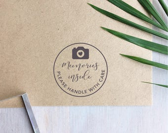 Memories Inside Stamp | Handle With Care Stamp - Photography Business - Camera Stamp - Photographer Gift
