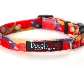 "Ruby Harvest - Dog collar from recycled webbing  - Size S (10-15""), 5/8"" wide"