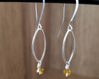 Silver Plated, Silver Loop & Yellow Faceted Drop Earring