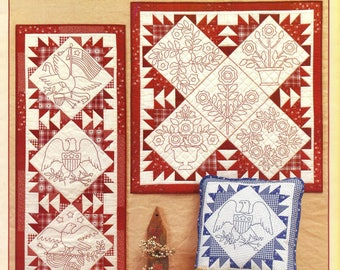 REDWORK ALBUM QUILTS  Cindy Taylor Oates Embroidery Quilting Americana Folk Art Pattern
