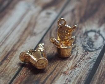2 charms 15x11mm gold tone cactus pot