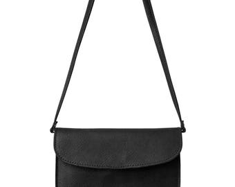 PAULA leather shoulder bag / black leather Messenger bag