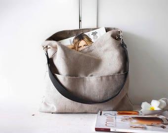 Shoulder bag, Linen tote bag