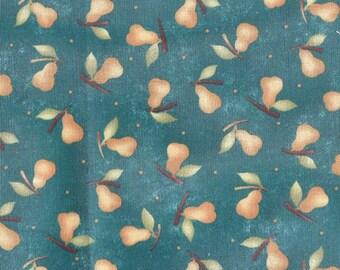 Tissu coton Folk Art imprimé de petites poires jaunes sur fond bleu