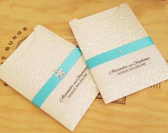 BEACH Wedding Invitation | Starfish beach invitations suite | Destination wedding Invites, pocket with RSVP card | Elegant beach invitations