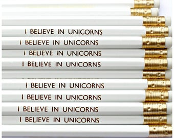I BELIEVE IN UNICORNS Pencil - Stationery - Present - Stocking Stuffer - Party Favours - Gift - Foil Print - Engraved - Luxury - Party Bags