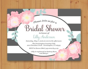 Floral Bridal Shower, Bridal Shower Invitation, Floral Bridal Shower Invitation, Striped Bridal Shower Invitation, Floral and Stripes