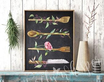 Chalkboard Kitchen sign, Printable Kitchen wall decor, Kitchen art print,  Watercolor Utensils, Rustic Kitchen Spoons, Typographic Print