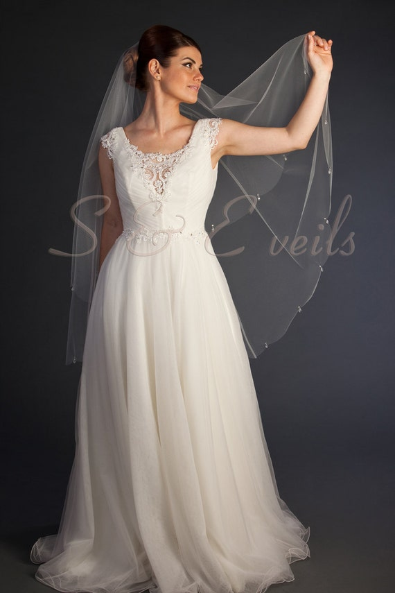 DROP Veil with Scalloped edge and Embellishments