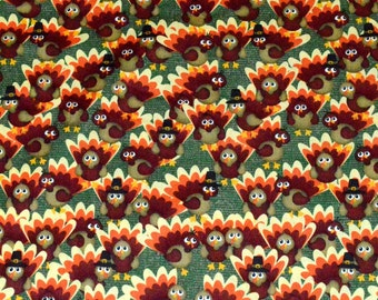 THANKSGIVING FABRIC! By The Half Yard - For Quilting and Doll Clothes / Turkeys - Pilgrim Hats