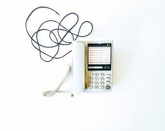 Vintage Phone, push-button telephone / gray retro phone vintage 90s