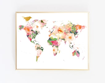 Floral world map art etsy world map wall art best selling items floral printable art digital download gumiabroncs Images
