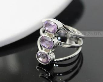 Amethyst Ring, 925 Sterling Silver Ring, Gemstone Rings, Crystal Rings, Healing Rings