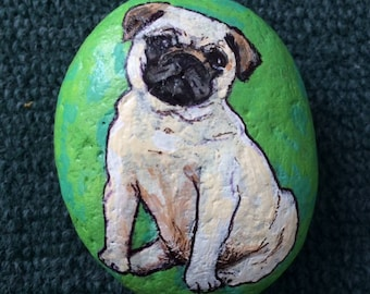 Pug puppy painted rock