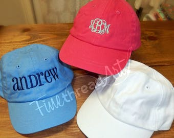 Infant or Small Toddler Monogram Baseball Cap Hat for Girls Boys Kids Youth Size Name Initials Elastic Baby Hat Pink Blue White Twins