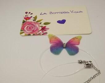 Gift Idea-choker necklace with thread Nylon butterfly silk rhinestone-Butterfly choker