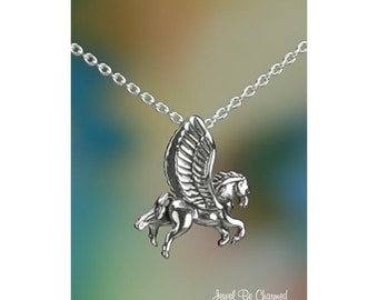 """Sterling Silver Pegasus Necklace 16-24"""" or Pendant Only Winged Horse"""