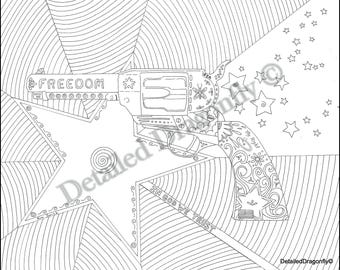 gun coloring page, adult coloring page, coloring pages for adults, pistol coloring pages, USA coloring pages, military coloring page