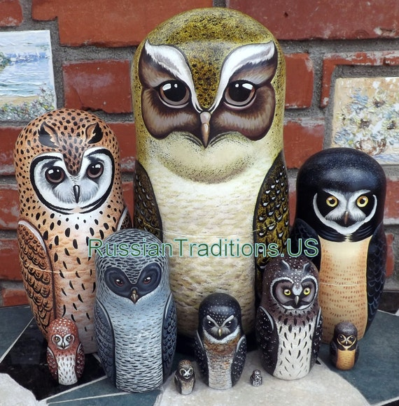 Owls of Latin America on the Set of Ten Russian Nesting Dolls. Crested Owl.